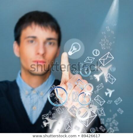 zakenman · digitale · knop · leven · futuristische - stockfoto © HASLOO