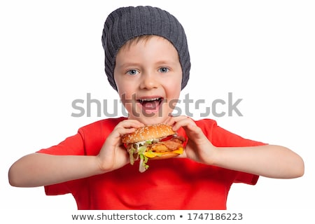 Man and boy with hamburgers Stock photo © lightkeeper