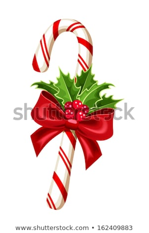 sweet christmas caramel cane with red bow Stock photo © LoopAll