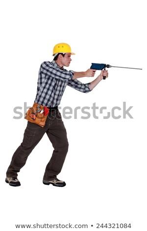 Hombre perforación largo bit textura edificio Foto stock © photography33