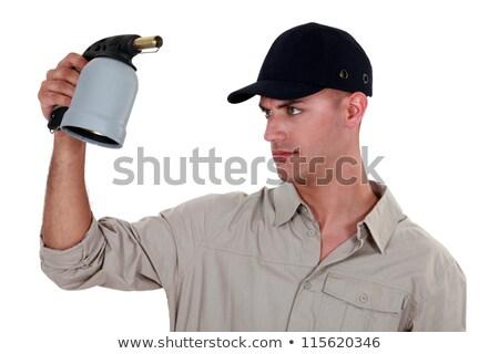 Manuel travailleur soudage lampe de poche affaires construction Photo stock © photography33