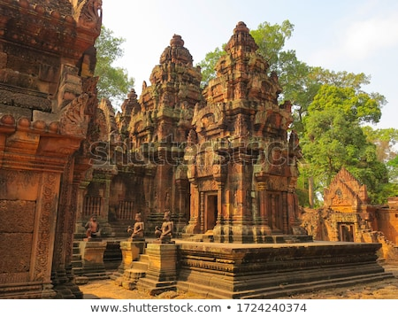 rosa · templo · surpreendente · 2012 · Camboja · decorado - foto stock © hangingpixels