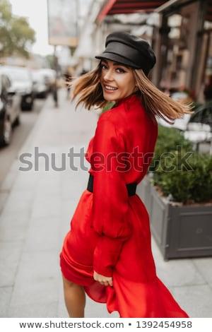 hoed · kouseband · mooie · blond · meisje · zwarte · jurk - stockfoto © dolgachov