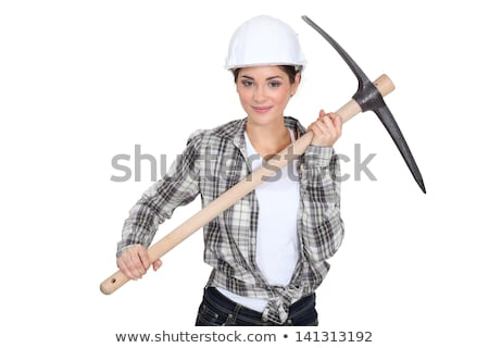 female bricklayer holding pickaxe Stock photo © photography33