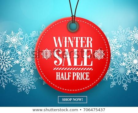 winter sale blue circle banner with snowflakes symbol stock photo © marinini