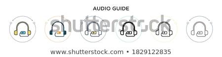 Ses tur adam dinleme bilgi kulaklık Stok fotoğraf © Hofmeester