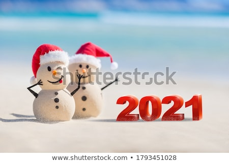new year card with beautiful snowman and ball stock photo © elmiko