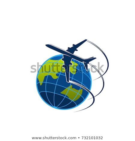 avión · vuelo · tierra · blanco · verde · azul - foto stock © vectomart