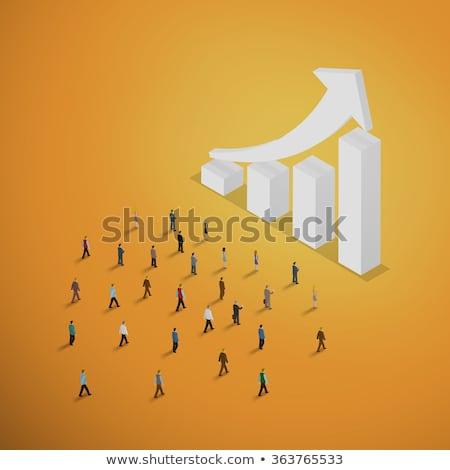 3d mensen lopen groene Rood pijlen blauwe hemel Stockfoto © Quka