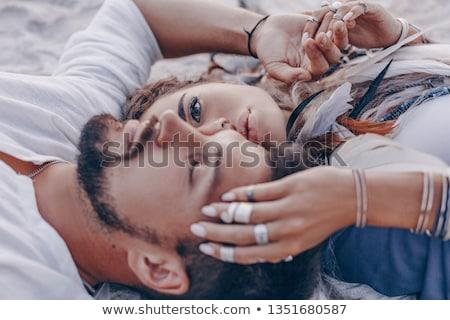 Coppia amore esterna uomo donne sole Foto d'archivio © koca777