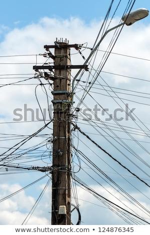 Fotoğraf elektrik kutup çok kablolar Tayland Stok fotoğraf © Lekchangply