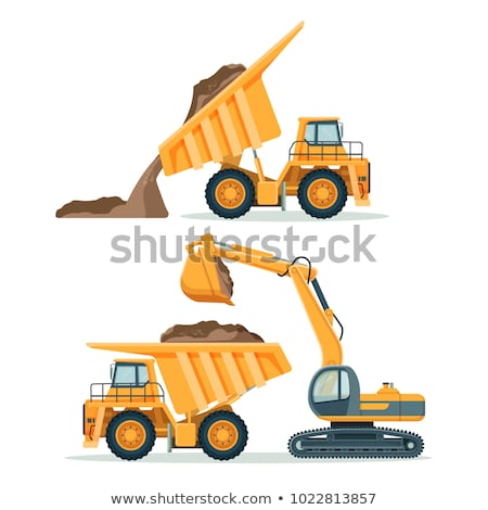 dump truck loaded with an excavator stock photo © discovod
