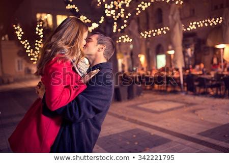 öpüşme · çift · çerçeve · vektör · antika · resim · çerçevesi - stok fotoğraf © anastasiya_popov