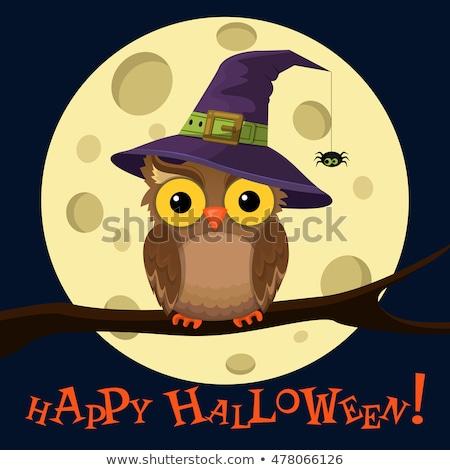 Stockfoto: Halloween · uilen · abstract · achtergrond · najaar · silhouet