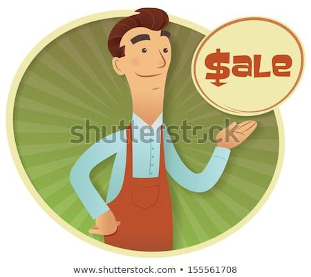 Amigável lojista carimbo ícone oferta desconto Foto stock © raphicus