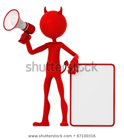 Devil holding a blank sign and shouting through a megaphone Stock photo © Kirill_M