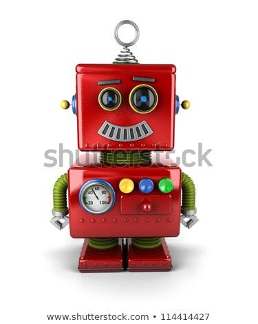 Vintage zabawki robot zdziwiony wyraz twarzy cute Zdjęcia stock © creisinger