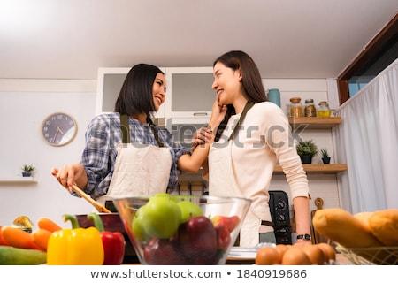 Doce casal sorridente bochechas tocante branco Foto stock © stryjek