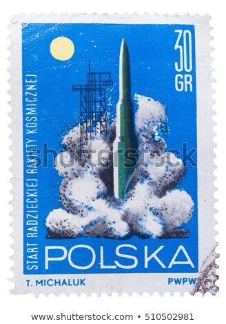 postage stamp shows symbol of space research stock photo © petrmalyshev