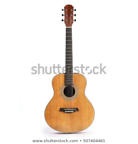 akusztikus · gitár · kivágás · hagyományos · gitár · forma · sziluettek - stock fotó © dezign56