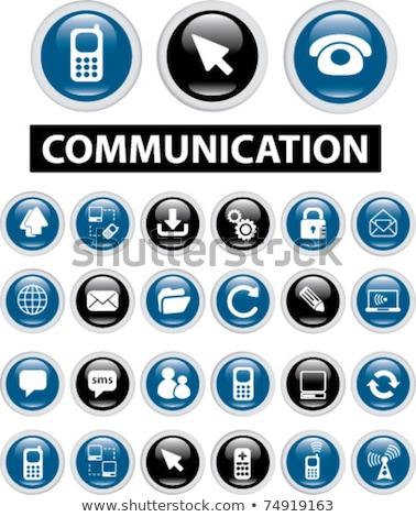 Antena satelitarna podpisania niebieski wektora ikona przycisk Zdjęcia stock © rizwanali3d