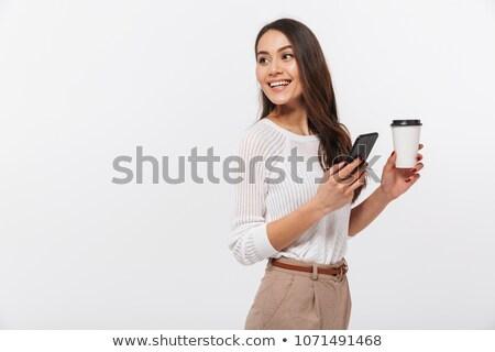 счастливым · деловой · женщины · чтение · sms · улыбаясь · за · пределами - Сток-фото © nyul