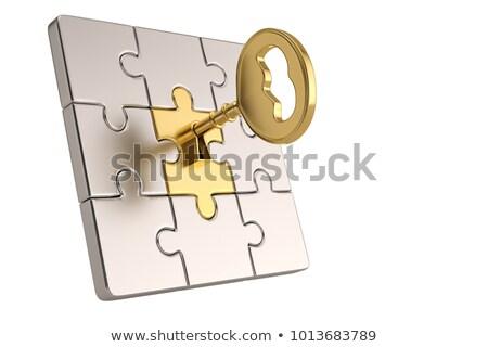 Strategy - Golden Key is Inserted into the Keyhole. Stock photo © tashatuvango
