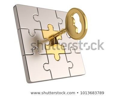 Estratégia dourado chave buraco de fechadura isolado branco Foto stock © tashatuvango
