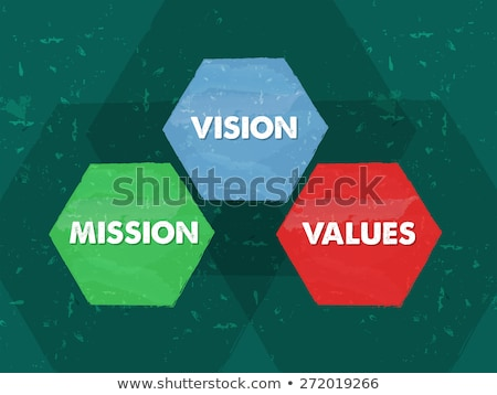 mission, values, vision in grunge flat design hexagons Stock photo © marinini