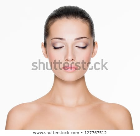 Portré gyönyörű fiatal nő csukott szemmel tavasz arc Stock fotó © deandrobot