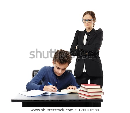 strict teacher with books and pen Stock photo © PetrMalyshev