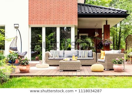 belső · udvar · nő · fehér · kalap · udvar · ház - stock fotó © ozgur