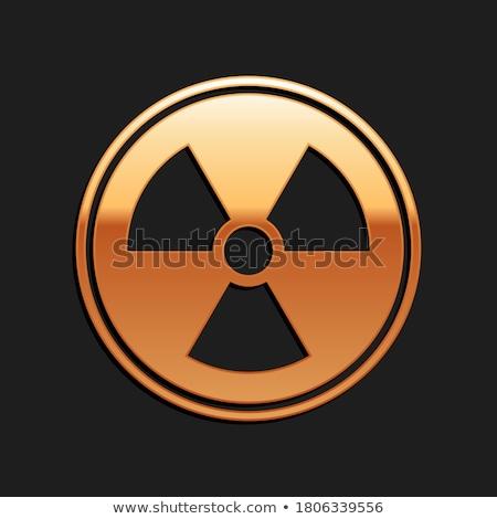 Radioaktív felirat arany vektor ikon terv Stock fotó © rizwanali3d