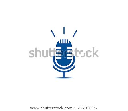 Mikrofon kék vektor ikon terv digitális adat Stock fotó © rizwanali3d