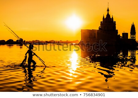 Pagoda puesta de sol puente arquitectura Asia templo Foto stock © smithore