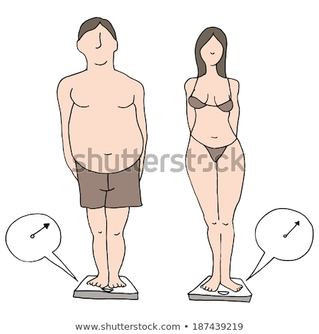 woman wearing underwear standing on weight scale Stock photo © phbcz