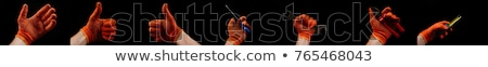 man with leather construction glove holding hammer stock photo © feverpitch