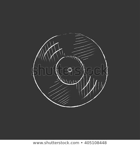 dj hand with disc icon drawn in chalk stock photo © rastudio