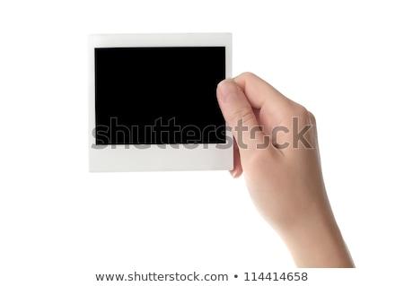 Mano bordo carta bianca imprenditore isolato Foto d'archivio © cherezoff