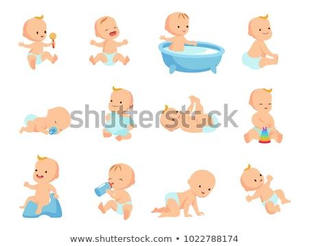 újszülött baba fürdőkád fürdőkád kék víz Stock fotó © Mikko