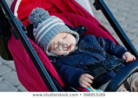 portrait of sleeping toddler in pram stock photo © phbcz