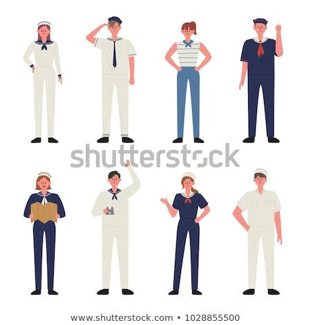 ストックフォト: 女性 · 船乗り · 女性 · ポーズ · 笑みを浮かべて · 美しい