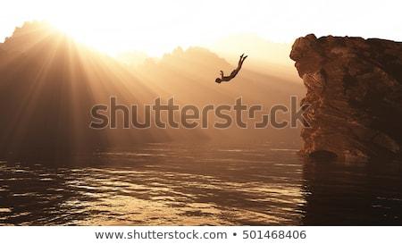 Chłopca skoki Urwisko ilustracja szczęśliwy dziecko Zdjęcia stock © bluering