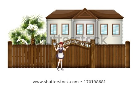 A housemaid in front of the big house Stock photo © bluering