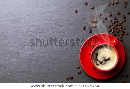 kahve · kırmızı · fincan · kaşık · bağbozumu · ahşap - stok fotoğraf © karandaev