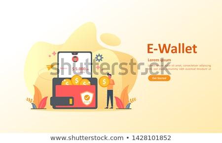 Digitális pénztárca biztonságos tranzakció modern illusztráció Stock fotó © WaD
