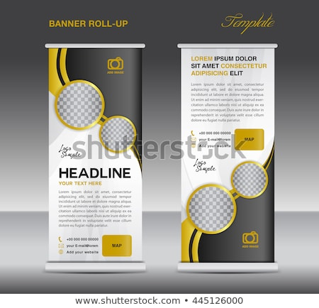Gold and black Roll up banner stand template vintage banner  des Stock photo © ganpanjanee
