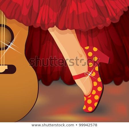 Flamenko parti müzik kart moda antika Stok fotoğraf © carodi