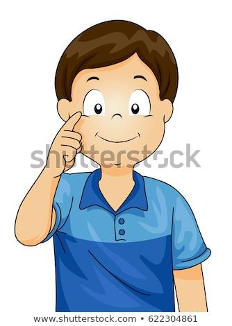 Сток-фото: мальчика · указывая · глаза · жира · белый · фон