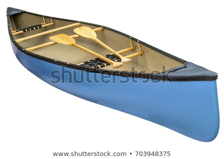 blue tandem canoe isolated stock photo © pixelsaway